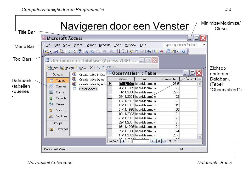 Computervaardigheden en Programmatie Universiteit AntwerpenDatabank - Basis 4.25 Crosstab Query Resultaat >>File>>Export...