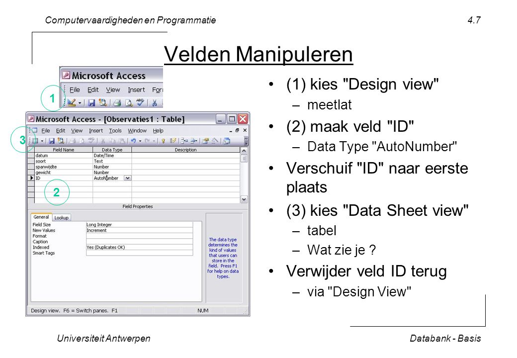 Computervaardigheden en Programmatie Universiteit AntwerpenDatabank - Basis 4.7 Velden Manipuleren (1) kies Design view –meetlat (2) maak veld ID –Data Type AutoNumber Verschuif ID naar eerste plaats (3) kies Data Sheet view –tabel –Wat zie je .