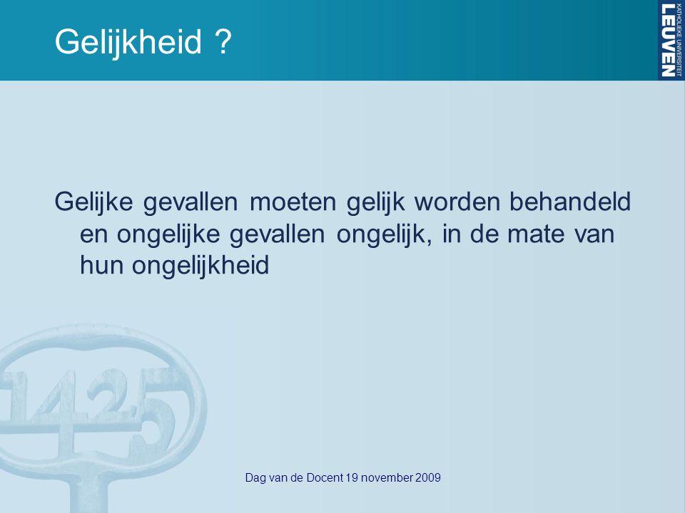 Dag van de Docent 19 november 2009 Redelijke aanpassing - regelgeving Algemeen (- Antidiscriminatiewet 10 mei 2007) -Gelijkekansendecreet (10 juli 2008) -VN-conventie rechten personen met handicap (13 dec 2006) K.U.Leuven -Onderwijs- en examenreglement (OER) Gelijke behandeling/redelijke aanpassing Onderwijs- en examenfaciliteiten (GT, OPO, art 11, 19, 31) -Nota Onderwijs en Diversiteit