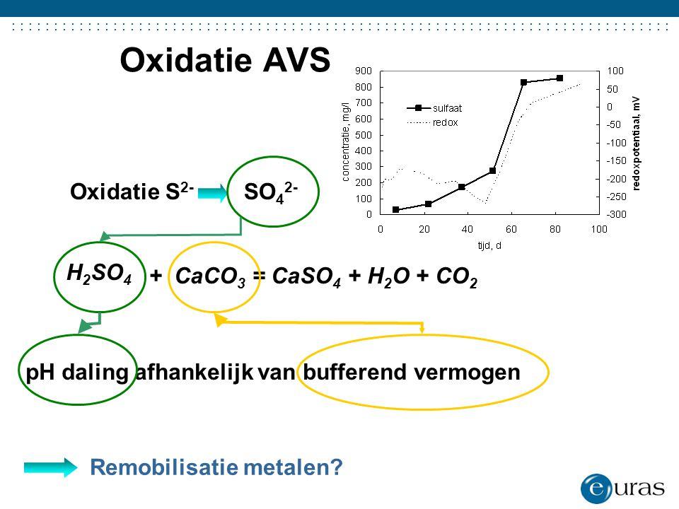 ....................................... Oxidatie AVS Oxidatie S 2- SO 4 2- Remobilisatie metalen? + CaCO 3 = CaSO 4 + H 2 O + CO 2 pH daling afhankeli