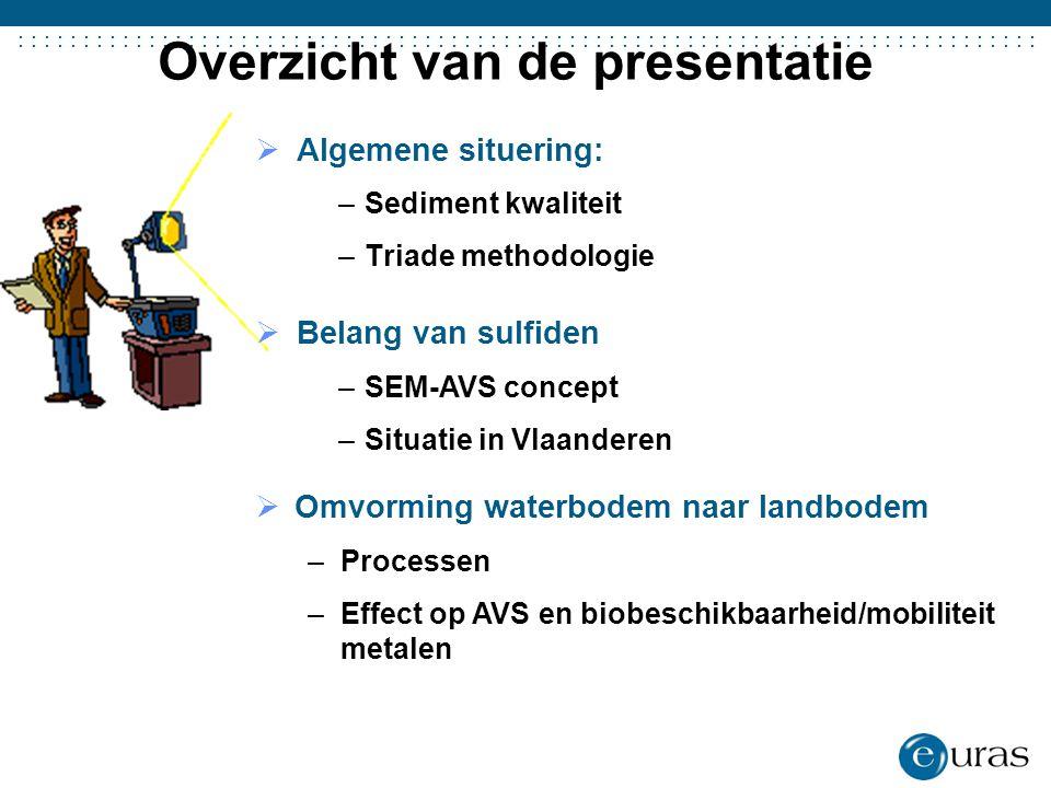.......................................  Algemene situering: –Sediment kwaliteit –Triade methodologie Overzicht van de presentatie  Belang van sulfi