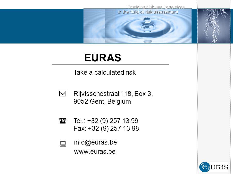 EURAS Take a calculated risk  Rijvisschestraat 118, Box 3, 9052 Gent, Belgium  Tel.: +32 (9) 257 13 99 Fax: +32 (9) 257 13 98  info@euras.be www.eu