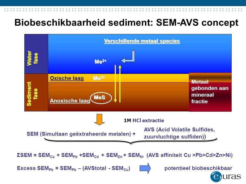 ....................................... ΣSEM = SEM Cu + SEM Pb +SEM Cd + SEM Zn + SEM Ni (AVS affiniteit Cu >Pb>Cd>Zn>Ni) Excess SEM Pb = SEM Pb – (AV
