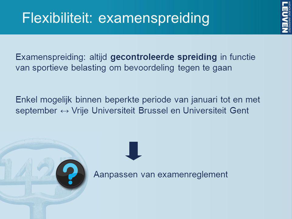 Flexibiliteit: examenspreiding Examenspreiding: altijd gecontroleerde spreiding in functie van sportieve belasting om bevoordeling tegen te gaan Enkel