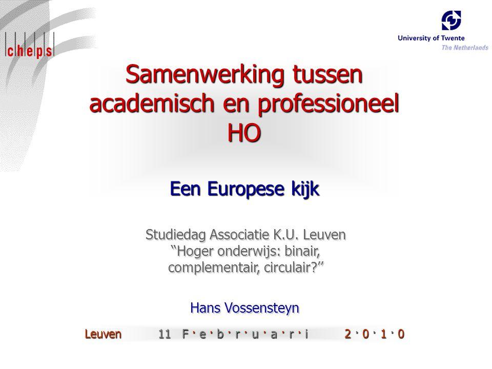 Samenwerking tussen academisch en professioneel HO Een Europese kijk Hans Vossensteyn Studiedag Associatie K.U.