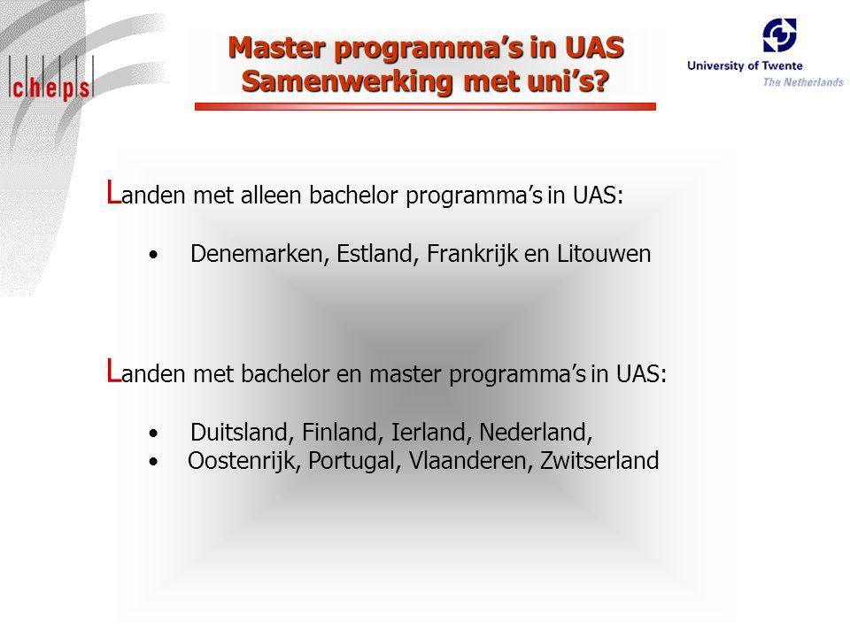 Master programma's in UAS Samenwerking met uni's.