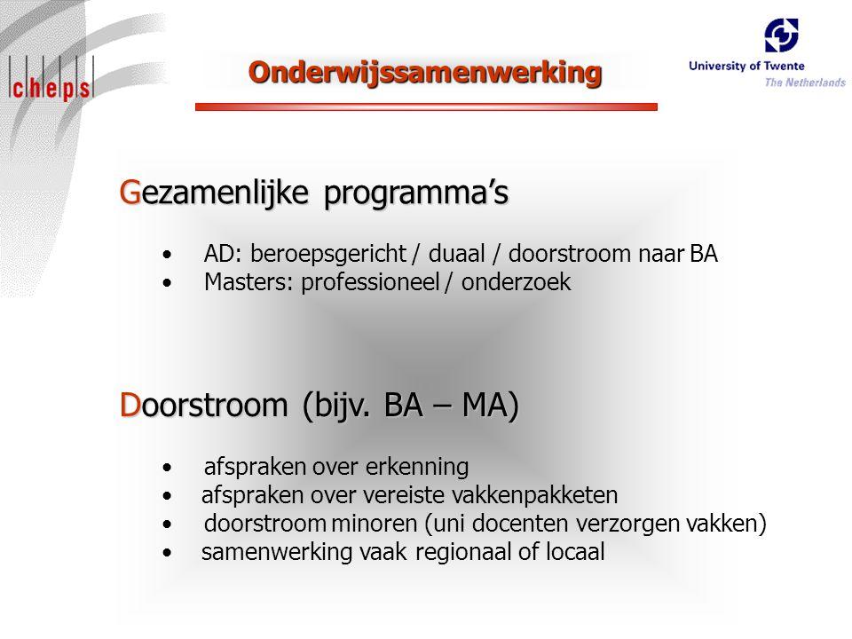 Onderwijssamenwerking Gezamenlijke programma's AD: beroepsgericht / duaal / doorstroom naar BA Masters: professioneel / onderzoek Doorstroom (bijv.