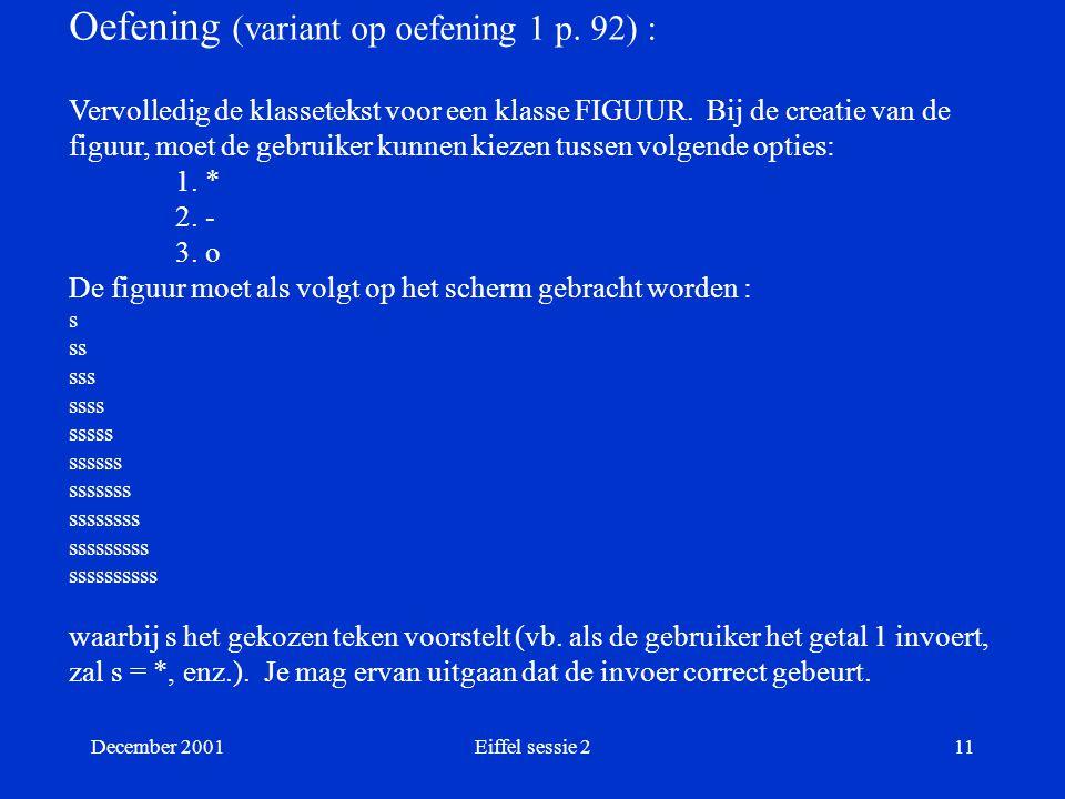 December 2001Eiffel sessie 211 Oefening (variant op oefening 1 p.