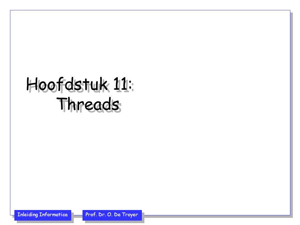 Inleiding Informatica Prof. Dr. O. De Troyer Hoofdstuk 11: Threads
