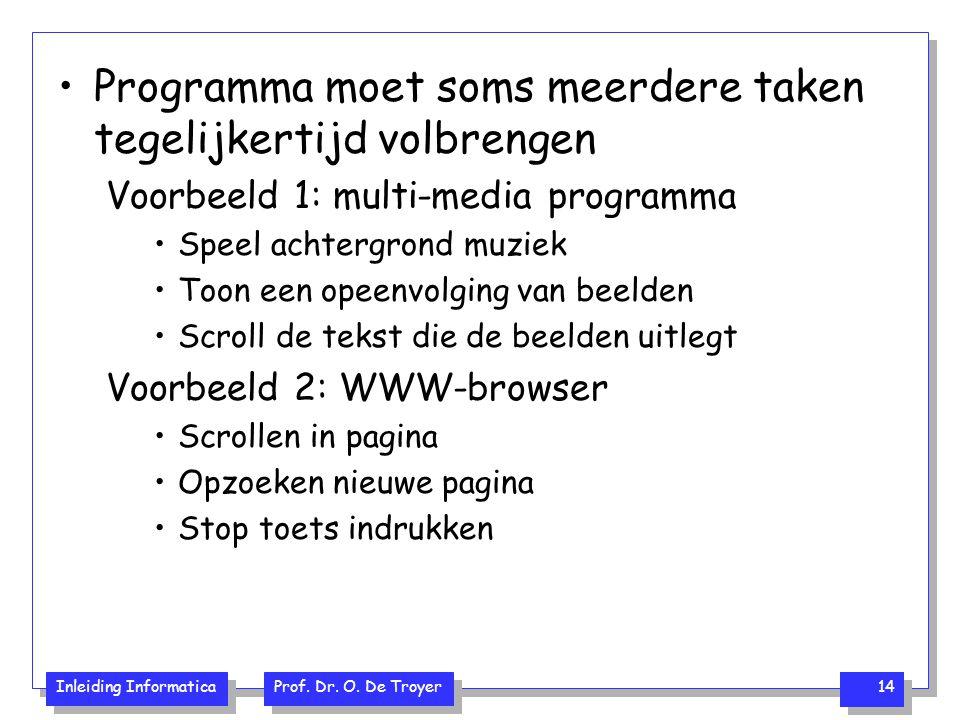 Inleiding Informatica Prof. Dr. O. De Troyer 14 Programma moet soms meerdere taken tegelijkertijd volbrengen Voorbeeld 1: multi-media programma Speel