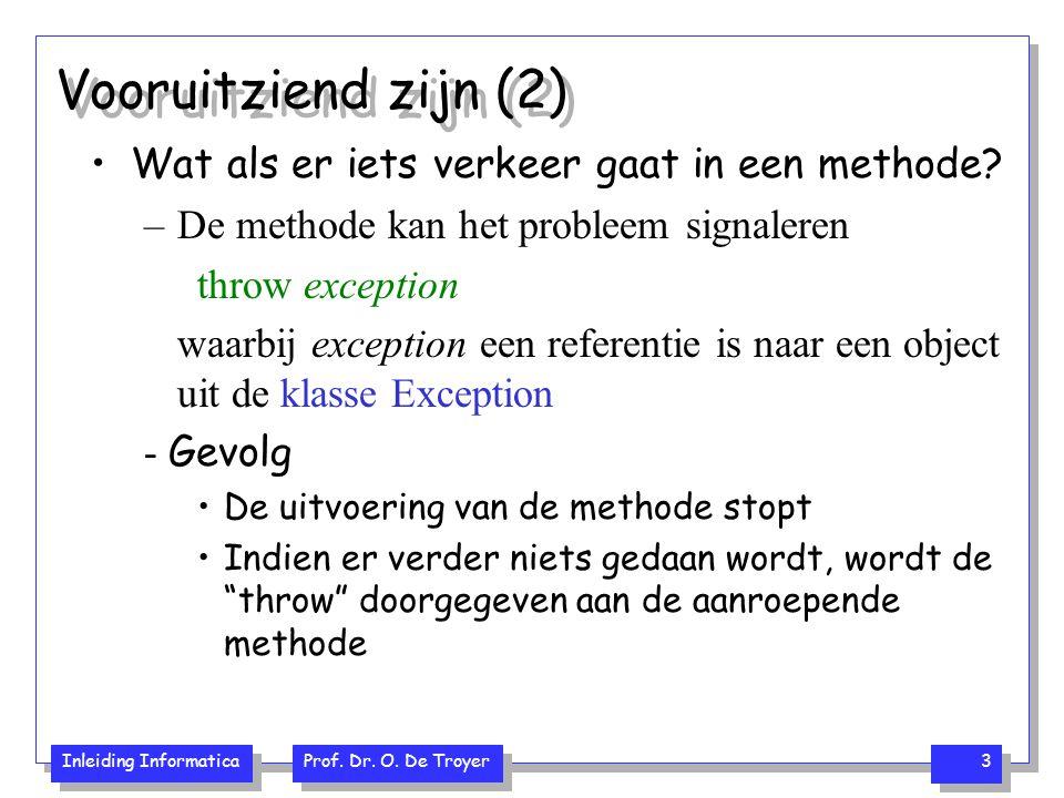 Inleiding Informatica Prof. Dr. O. De Troyer 3 Vooruitziend zijn (2) Wat als er iets verkeer gaat in een methode? –De methode kan het probleem signale