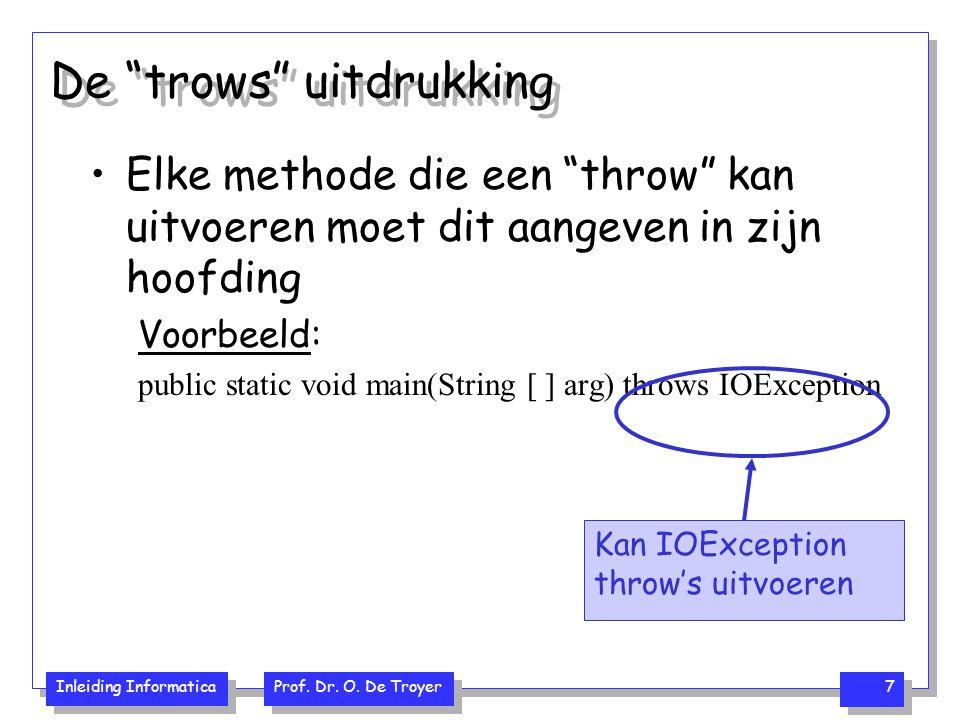 """Inleiding Informatica Prof. Dr. O. De Troyer 7 De """"trows"""" uitdrukking Elke methode die een """"throw"""" kan uitvoeren moet dit aangeven in zijn hoofding Vo"""