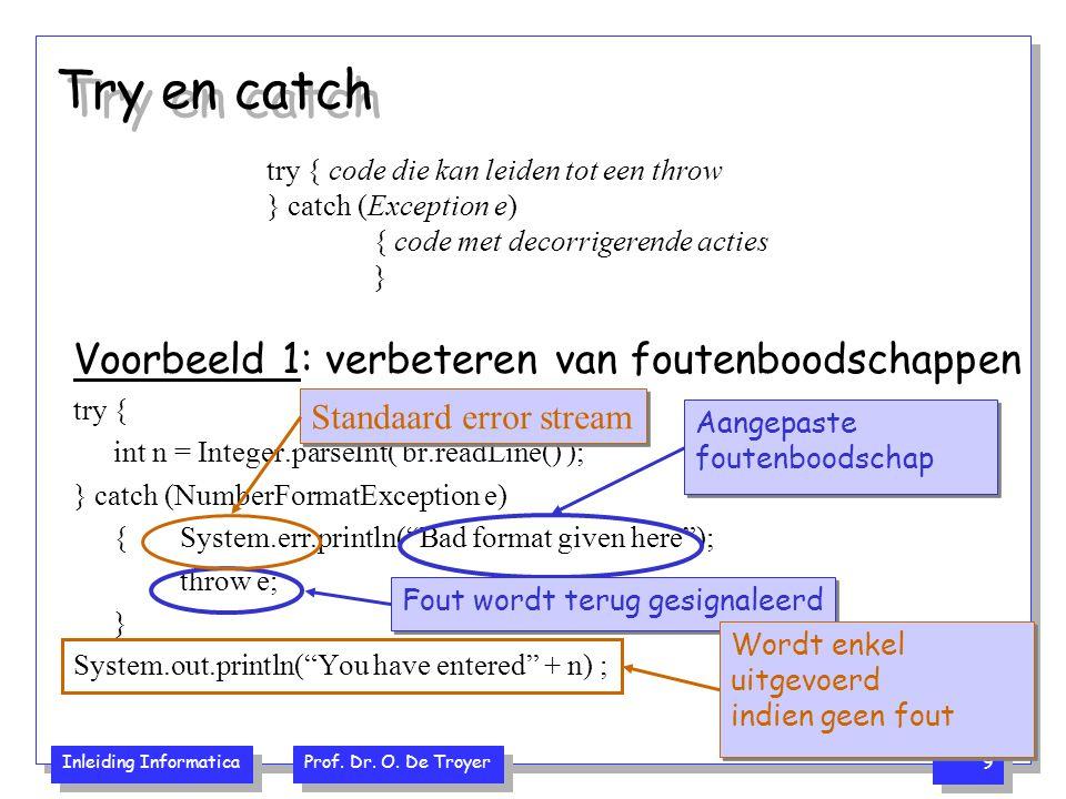 Inleiding Informatica Prof. Dr. O. De Troyer 9 Try en catch Voorbeeld 1: verbeteren van foutenboodschappen try { int n = Integer.parseInt( br.readLine