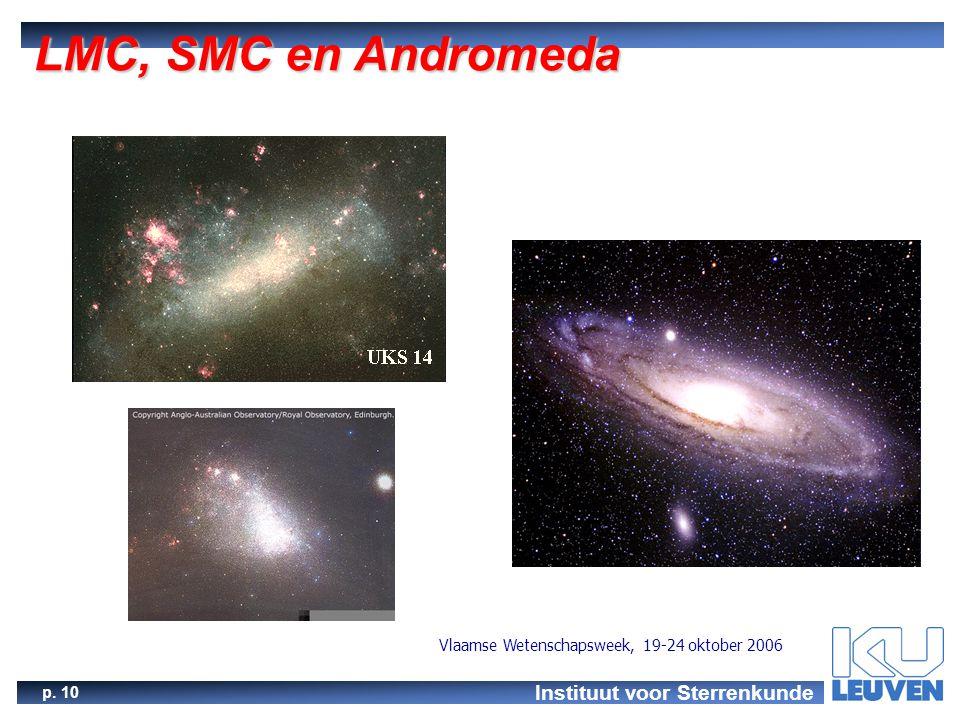 Instituut voor Sterrenkunde p. 10 Vlaamse Wetenschapsweek, 19-24 oktober 2006 LMC, SMC en Andromeda