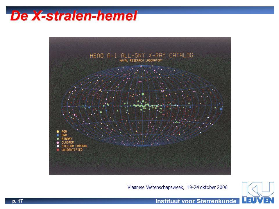 Instituut voor Sterrenkunde p. 17 Vlaamse Wetenschapsweek, 19-24 oktober 2006 De X-stralen-hemel