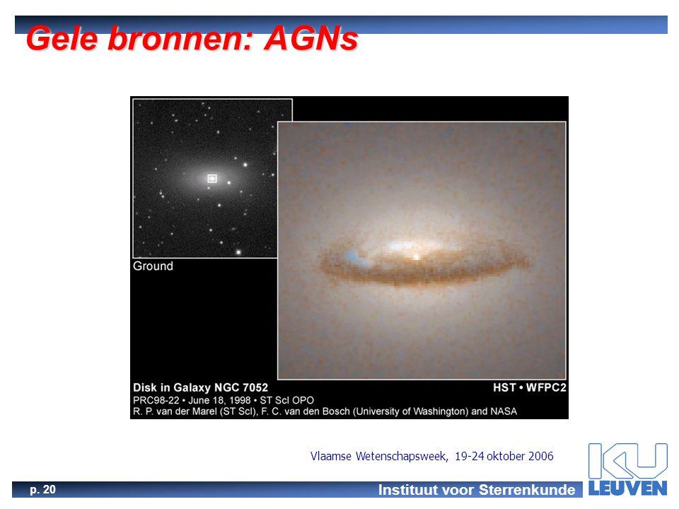Instituut voor Sterrenkunde p. 20 Vlaamse Wetenschapsweek, 19-24 oktober 2006 Gele bronnen: AGNs