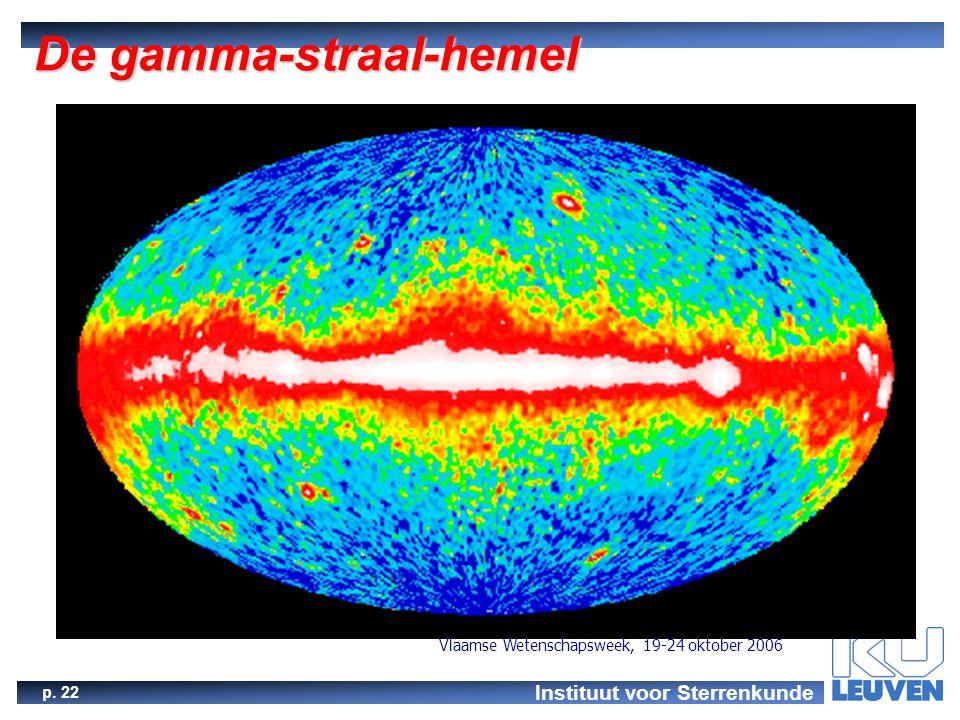 Instituut voor Sterrenkunde p. 22 Vlaamse Wetenschapsweek, 19-24 oktober 2006 De gamma-straal-hemel