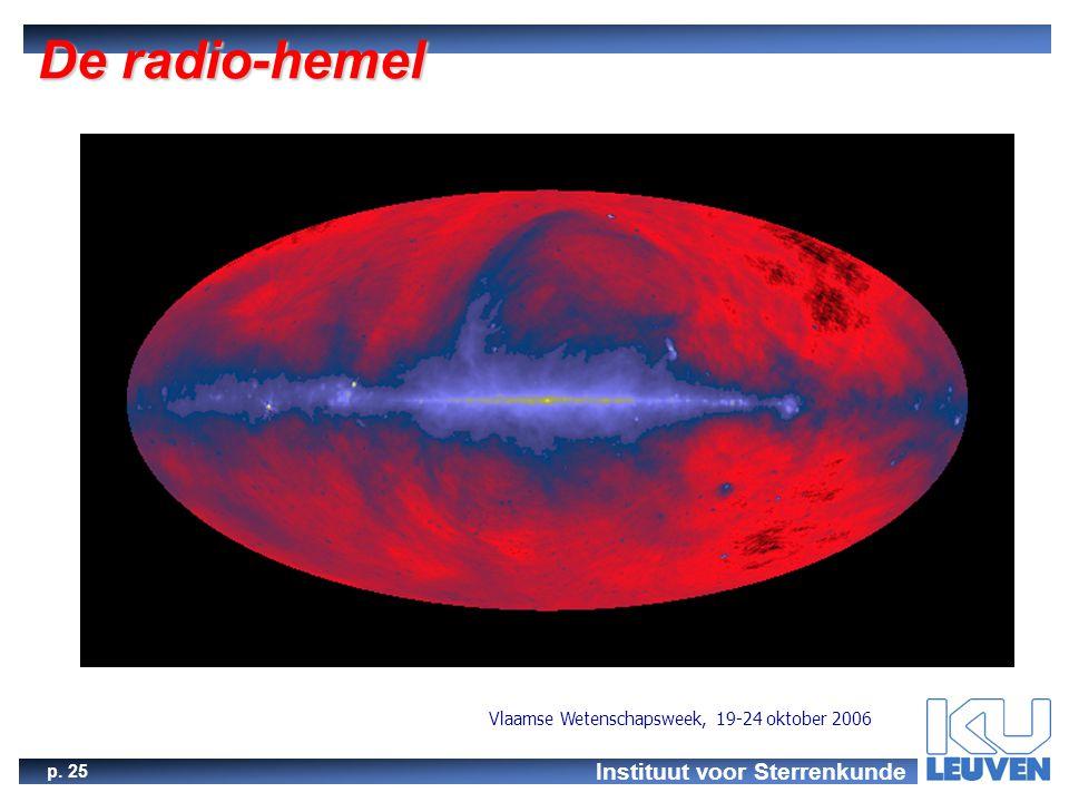 Instituut voor Sterrenkunde p. 25 Vlaamse Wetenschapsweek, 19-24 oktober 2006 De radio-hemel