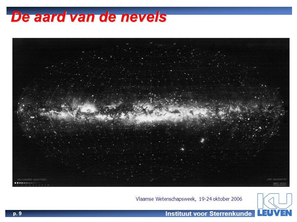 Instituut voor Sterrenkunde p. 9 Vlaamse Wetenschapsweek, 19-24 oktober 2006 De aard van de nevels