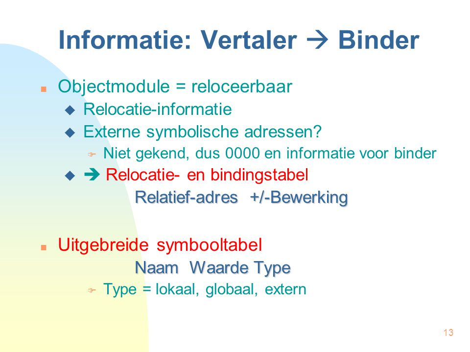 13 Informatie: Vertaler  Binder Objectmodule = reloceerbaar  Relocatie-informatie  Externe symbolische adressen?  Niet gekend, dus 0000 en informa
