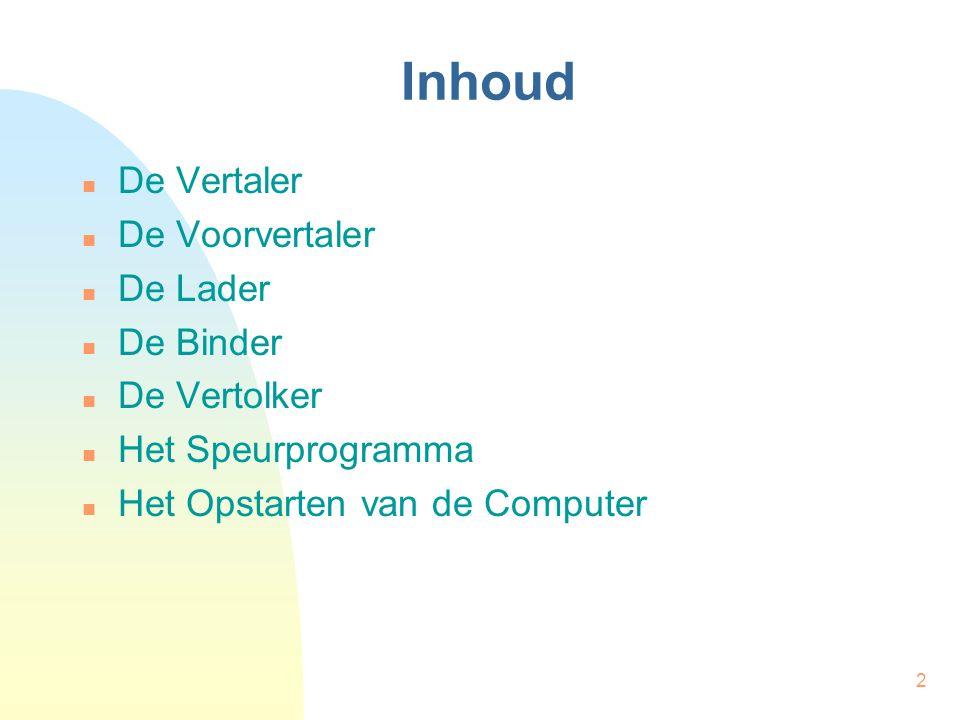 2 Inhoud De Vertaler De Voorvertaler De Lader De Binder De Vertolker Het Speurprogramma Het Opstarten van de Computer
