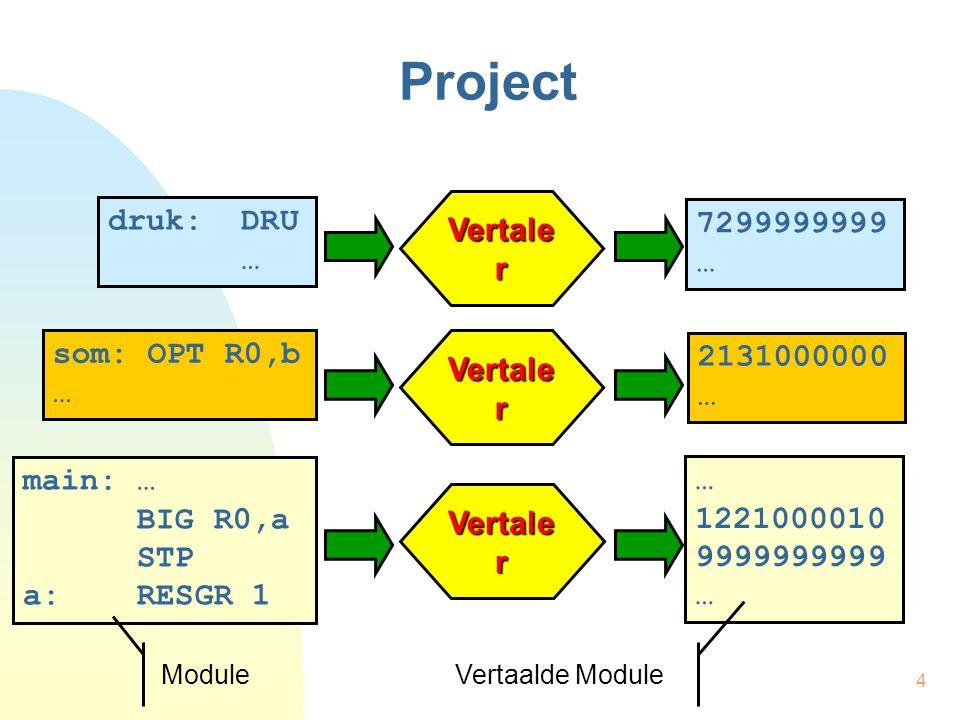 4 Project Vertale r 7299999999 … 2131000000 … 1221000010 9999999999 … druk: DRU … som: OPT R0,b … main: … BIG R0,a STP a: RESGR 1 Vertale r Vertaalde Module Module