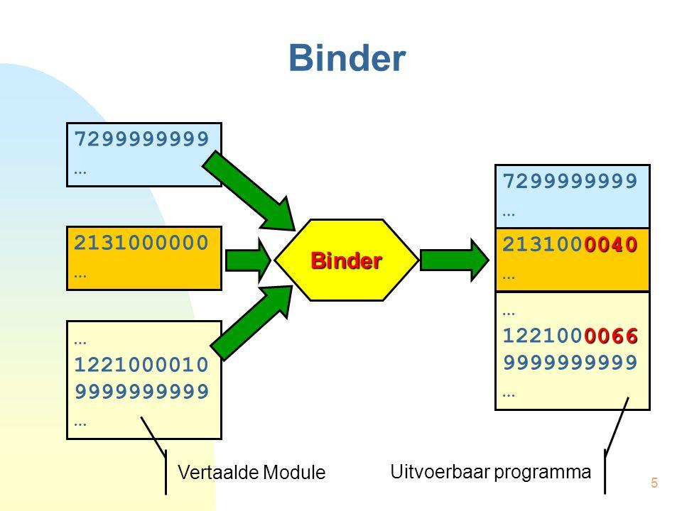 5 Binder Binder 7299999999 … 2131000000 … 1221000010 9999999999 … Vertaalde Module 7299999999 … 0040 2131000040 … 0066 1221000066 9999999999 … Uitvoerbaar programma