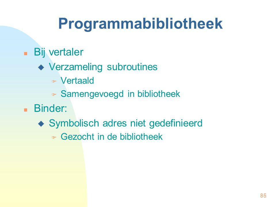 85 Programmabibliotheek Bij vertaler  Verzameling subroutines  Vertaald  Samengevoegd in bibliotheek Binder:  Symbolisch adres niet gedefinieerd  Gezocht in de bibliotheek