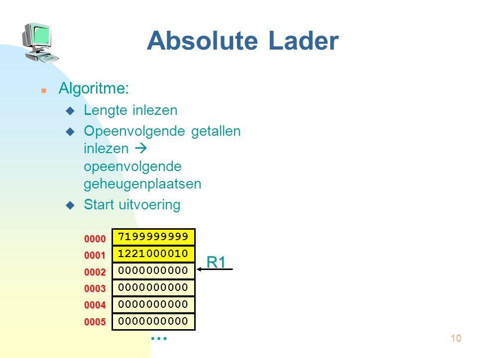 11 Absolute Lader Algoritme:  Lengte inlezen  Opeenvolgende getallen inlezen  opeenvolgende geheugenplaatsen  Start uitvoering | Absolute Lader | Aantal  R2 | Adres  R1 LEZ | Lengte HIA R2,R0 0000 0002 … 0003 0004 0005 0001 7199999999 0000000000 1221000010 0000000000 R1