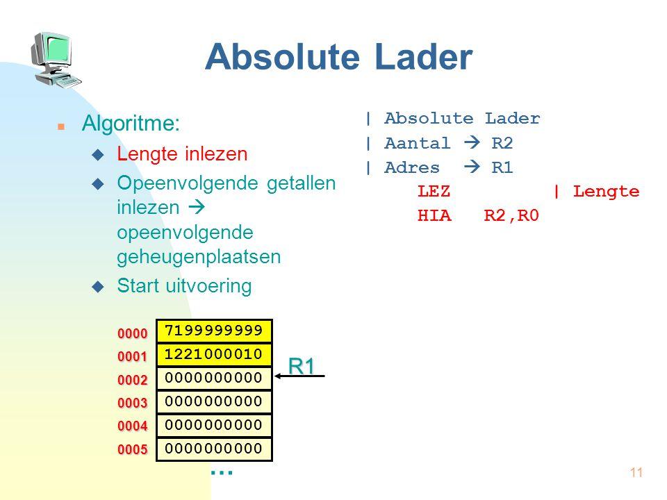 12 Absolute Lader Algoritme  Lengte inlezen  Opeenvolgende getallen inlezen  opeenvolgende geheugenplaatsen  Start uitvoering | Absolute Lader | Aantal  R2 | Adres  R1 LEZ | Lengte HIA R2,R0 HIA.w R1,0 0000 0002 … 0003 0004 0005 0001 7199999999 0000000000 1221000010 0000000000 R1