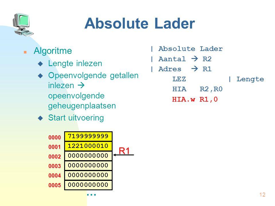 13 Absolute Lader Algoritme  Lengte inlezen  Opeenvolgende getallen inlezen  opeenvolgende geheugenplaatsen  Start uitvoering | Absolute Lader | Aantal  R2 | Adres  R1 LEZ | Lengte HIA R2,R0 HIA.w R1,0 LUS: VGL.w R2,0 0000 0002 … 0003 0004 0005 0001 7199999999 0000000000 1221000010 0000000000 R1