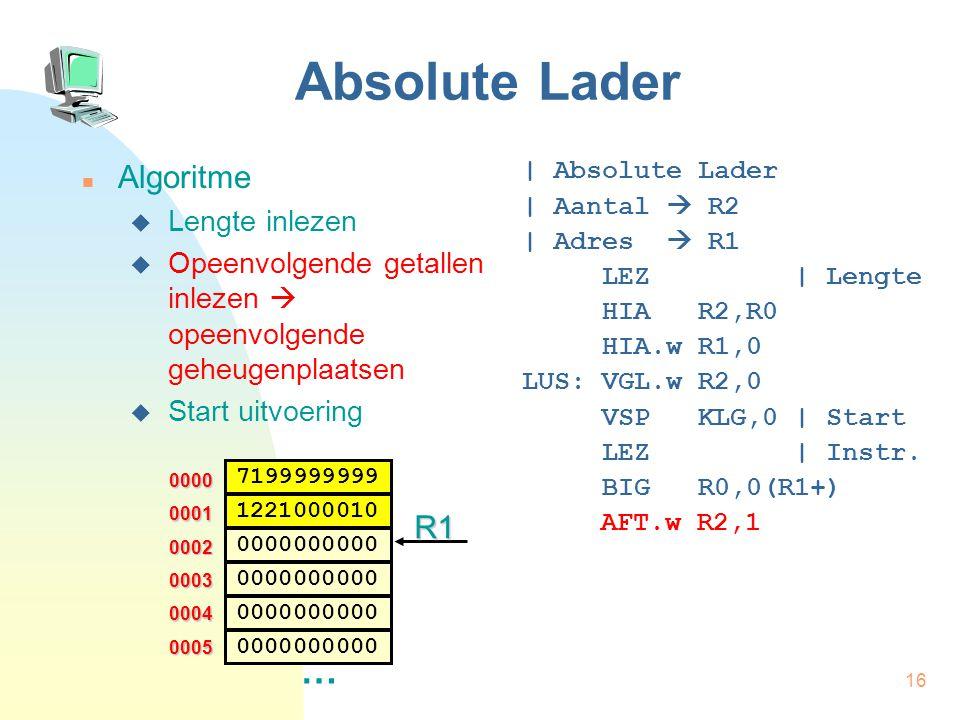 17 Absolute Lader Algoritme  Lengte inlezen  Opeenvolgende getallen inlezen  opeenvolgende geheugenplaatsen  Start uitvoering | Absolute Lader | Aantal  R2 | Adres  R1 LEZ | Lengte HIA R2,R0 HIA.w R1,0 LUS: VGL.w R2,0 VSP KLG,0 | Start LEZ | Instr.
