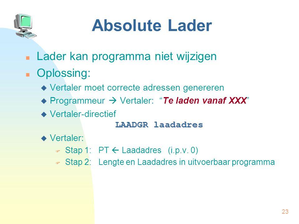 24 Absolute Lader LAADGR 300 HIA R1,A OPT.w R1,B-A BIG R1,B STP A: 10 B: RESGR 1 0304 1131100304 0305 1221100305 0000000010 9999999999 2111100001 0000000000 0006 0000000006 0300 0000000300 #symbolen 0304 A 0304 0305 B 0305 Lengte  Laadadres  Hoofding Programma- code Symbool- tabel Bronprogramma Uitvoerbaar programma