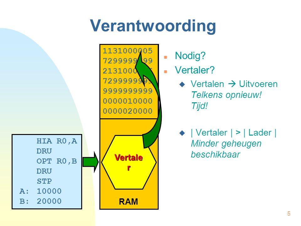 6 Verantwoording RAM Vertale r HIA R0,A DRU OPT R0,B DRU STP A:10000 B:20000 1131000005 7299999999 2131000006 7299999999 9999999999 0000010000 0000020000 Schijf