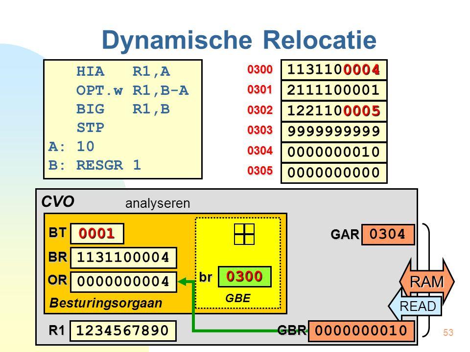 54 CVO Besturingsorgaan Dynamische Relocatie HIA R1,A OPT.w R1,B-A BIG R1,B STP A: 10 B: RESGR 1 0300 0302 0303 0304 0305 0301 0004 1131100004 0005 1221100005 0000000010 9999999999 2111100001 0000000000 BT0001 1131100004BR 0000000010OR 1234567890R1 GBE br 0300 RAMGAR 0304 0000000010GBR analyseren