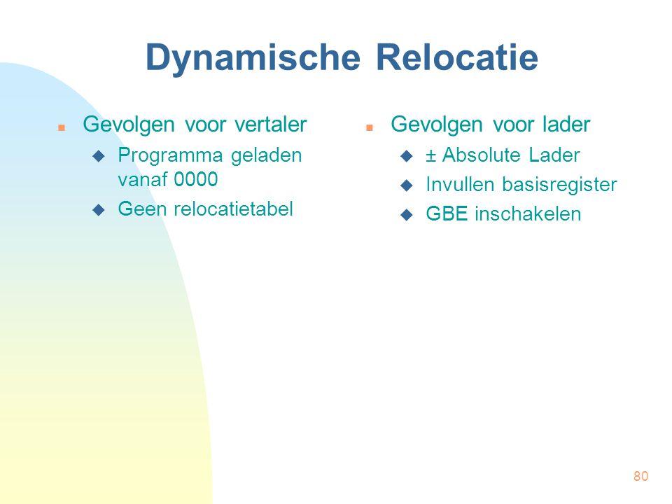 81 Dynamische Relocatie Laadadres is bepaald Algoritme  Lengte inlezen  Opeenvolgende getallen inlezen  opeenvolgende geheugenplaatsen (begin bij laadadres)  Start uitvoering | Lader (± Absolute Lader) | Aantal  R2 | Adres  R1 | Laadadres  R3 (bepaald!) LEZ | Lengte HIA R2,R0 HIA R1,R3 LUS: VGL.w R2,0 VSP KLG,GBE LEZ | Instr.