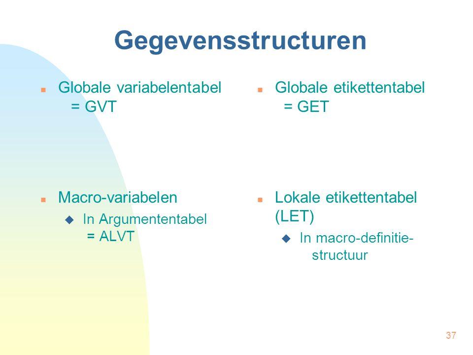 37 Gegevensstructuren Globale variabelentabel = GVT Macro-variabelen  In Argumententabel = ALVT Globale etikettentabel = GET Lokale etikettentabel (LET)  In macro-definitie- structuur