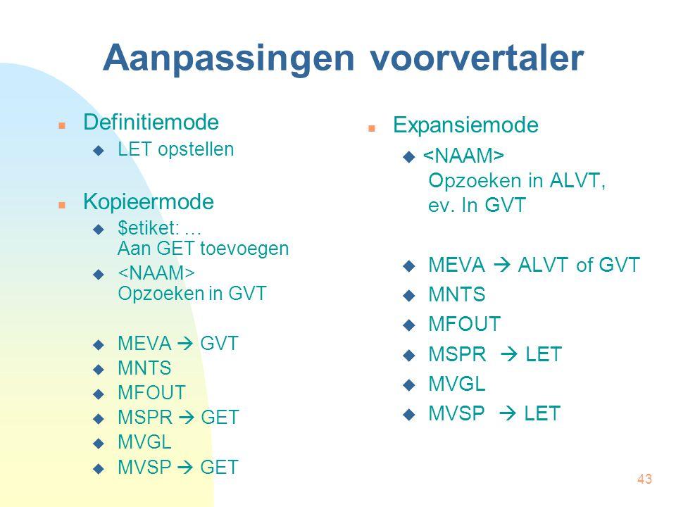 43 Aanpassingen voorvertaler Definitiemode  LET opstellen Kopieermode  $etiket: … Aan GET toevoegen  Opzoeken in GVT  MEVA  GVT  MNTS  MFOUT  MSPR  GET  MVGL  MVSP  GET Expansiemode  Opzoeken in ALVT, ev.