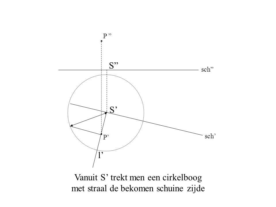 """sch' sch"""" P' P """" Vanuit S' trekt men een cirkelboog met straal de bekomen schuine zijde S"""" S' l'"""