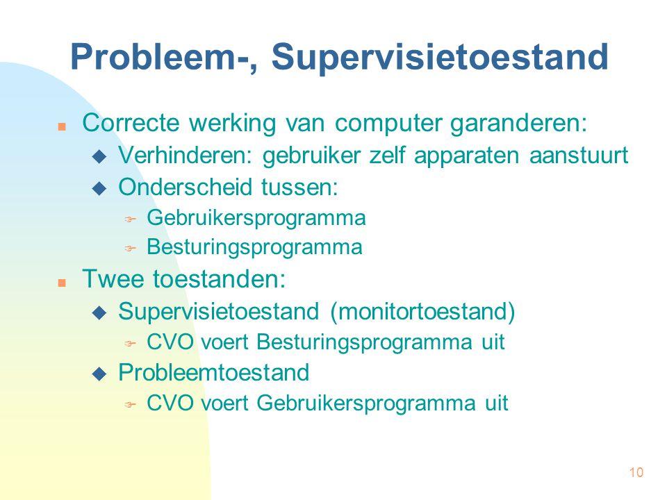 10 Probleem-, Supervisietoestand Correcte werking van computer garanderen:  Verhinderen: gebruiker zelf apparaten aanstuurt  Onderscheid tussen:  G