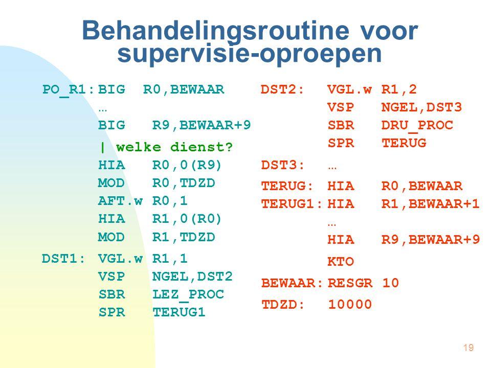 19 Behandelingsroutine voor supervisie-oproepen PO_R1:BIG R0,BEWAAR … BIG R9,BEWAAR+9 | welke dienst? HIA R0,0(R9) MOD R0,TDZD AFT.w R0,1 HIA R1,0(R0)