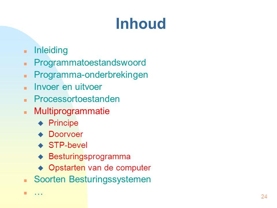 24 Inhoud Inleiding Programmatoestandswoord Programma-onderbrekingen Invoer en uitvoer Processortoestanden Multiprogrammatie  Principe  Doorvoer  S