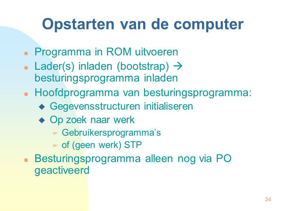 34 Opstarten van de computer Programma in ROM uitvoeren Lader(s) inladen (bootstrap)  besturingsprogramma inladen Hoofdprogramma van besturingsprogra