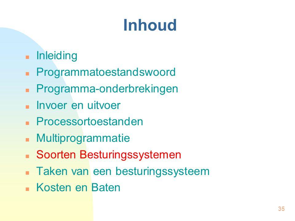 35 Inhoud Inleiding Programmatoestandswoord Programma-onderbrekingen Invoer en uitvoer Processortoestanden Multiprogrammatie Soorten Besturingssysteme
