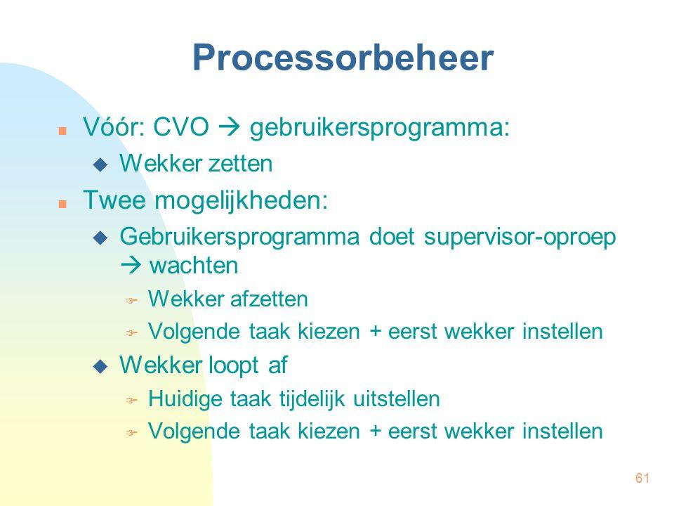 61 Processorbeheer Vóór: CVO  gebruikersprogramma:  Wekker zetten Twee mogelijkheden:  Gebruikersprogramma doet supervisor-oproep  wachten  Wekke