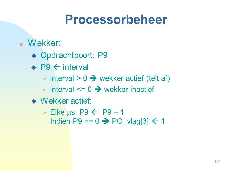 62 Processorbeheer Wekker:  Opdrachtpoort: P9  P9  interval  interval > 0  wekker actief (telt af)  interval <= 0  wekker inactief  Wekker act