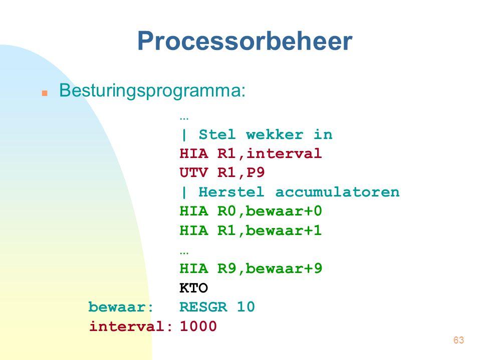 63 Processorbeheer Besturingsprogramma: … | Stel wekker in HIA R1,interval UTV R1,P9 | Herstel accumulatoren HIA R0,bewaar+0 HIA R1,bewaar+1 … HIA R9,