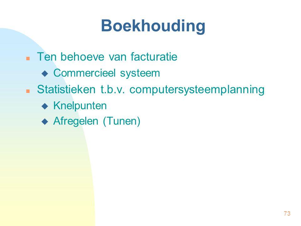 73 Boekhouding Ten behoeve van facturatie  Commercieel systeem Statistieken t.b.v. computersysteemplanning  Knelpunten  Afregelen (Tunen)