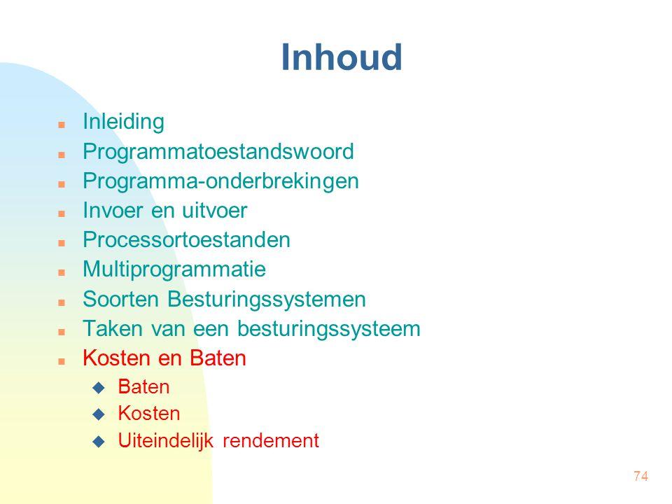 74 Inhoud Inleiding Programmatoestandswoord Programma-onderbrekingen Invoer en uitvoer Processortoestanden Multiprogrammatie Soorten Besturingssysteme