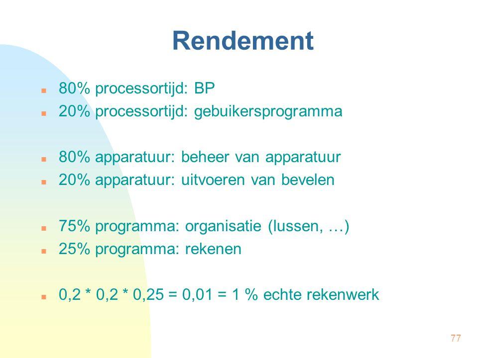 77 Rendement 80% processortijd: BP 20% processortijd: gebuikersprogramma 80% apparatuur: beheer van apparatuur 20% apparatuur: uitvoeren van bevelen 7